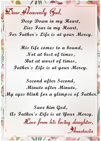 The Poem for God to Save Father's Life. A daughter begs for her father's life.